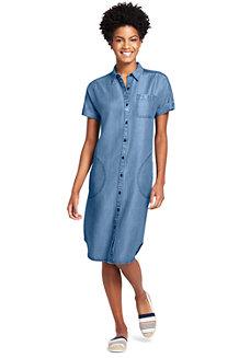 Blusenkleid in Denim-Optik aus Lyocell für Damen
