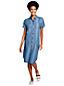 Robe Chemise Indigo à Manches Courtes, Femme Stature Standard