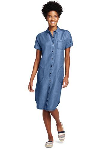 Women's Shirt Dress with Cap Sleeves