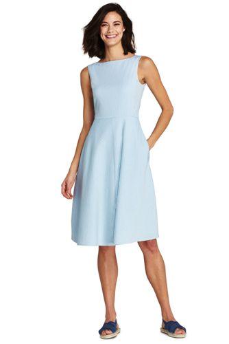 Lands' End Le Bas de Bikini Texturé Taille Haute, Femme Stature Standard - Bleu - 42
