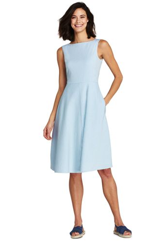 Women's Sleeveless Seersucker A-line Dress