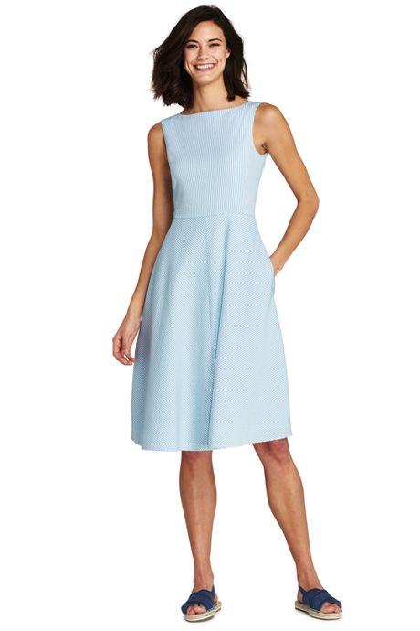 Women's Petite Sleeveless Seersucker A-line Dress