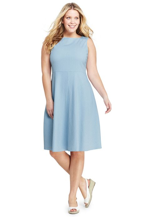 Women's Plus Size Sleeveless Seersucker A-line Dress