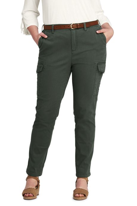 Women's Plus Size Mid Rise Cargo Chino Pants