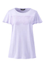Women's Plus Size Lace Trim Flutter Sleeve Top