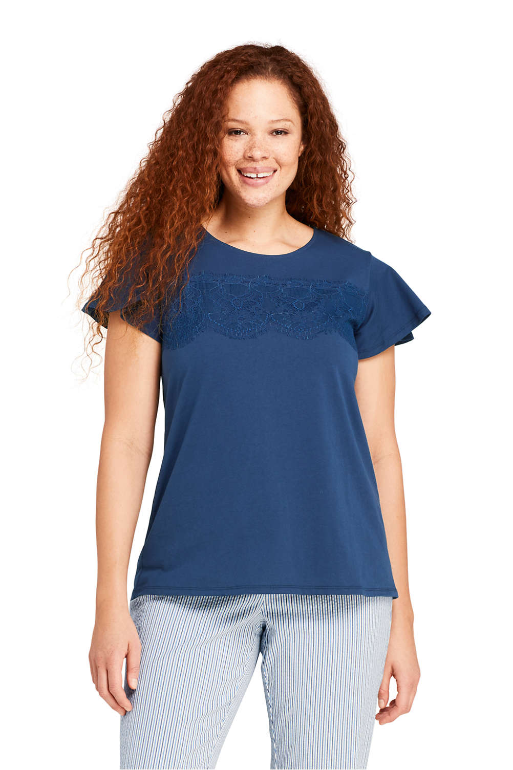 b61b1bf132f Women s Plus Size Lace Trim Flutter Sleeve Top from Lands  End