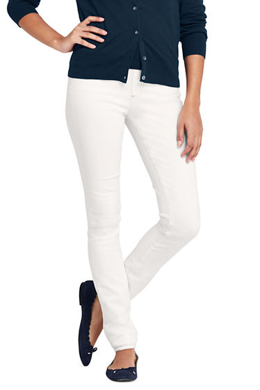 Sale Low Cost Cheap Sale Collections Womens White Mid Rise Slim Leg Denim Jeans - 18 34 - WHITE Lands End Outlet Footaction Clearance Excellent Cheap Eastbay lC8MNsR