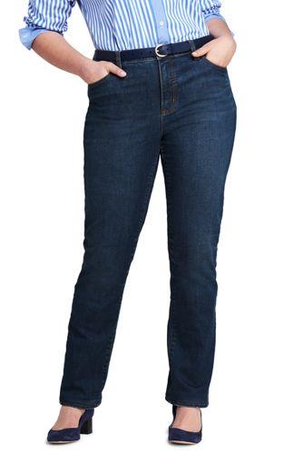 Le Jean Droit Stretch Indigo Taille Mi-Haute, Femme Grande Taille