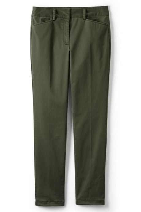 Women's Petite Chino Mid Rise Straight Leg Pants