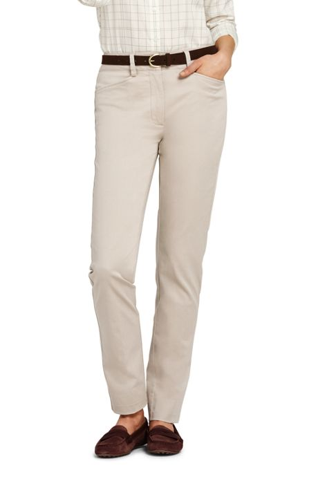 Women's Petite Mid Rise Chino Straight Leg Pants