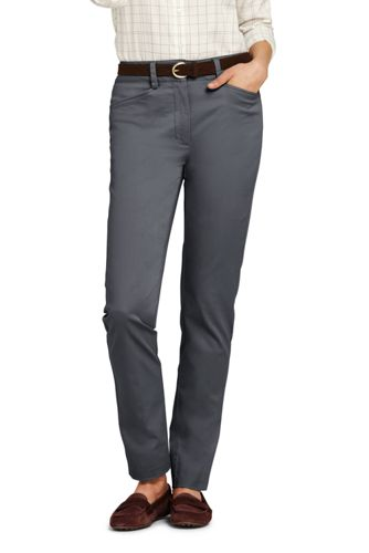 Le Chino Droit Stretch Taille Mi-Haute, Femme Stature Standard