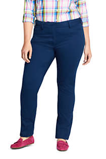 Women's Plus Size Chino Mid Rise Straight Leg Pants, Front