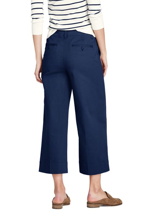 Women's Mid Rise Chino Wide Leg Crop Pants
