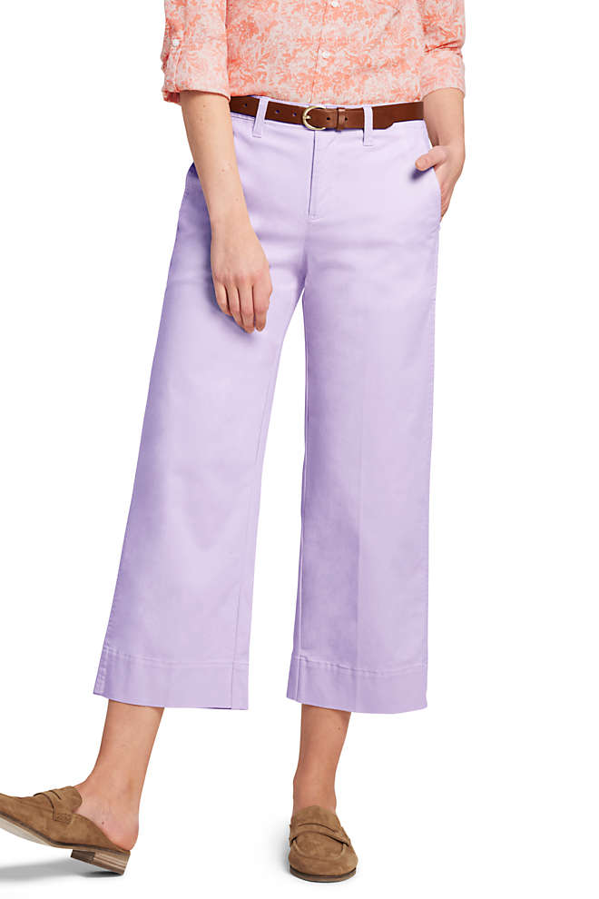 Women's Tall Mid Rise Chino Wide Leg Crop Pants, Front