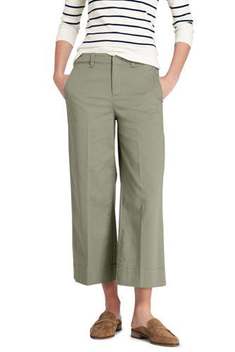 Womens Mid Rise Wide Leg Chino Trousers - 10 - BLACK Lands End XbIKn2