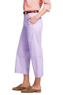 Women's Petite Mid Rise Chino Wide Leg Crop Pants, Right