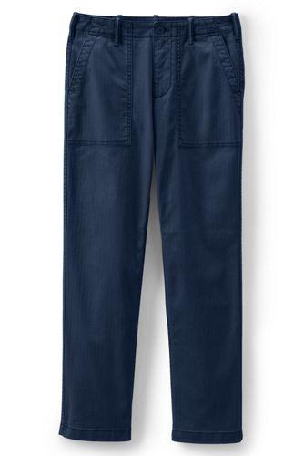 Le Pantalon Chino Droit Stretch à Grandes Poches, Femme Stature Standard