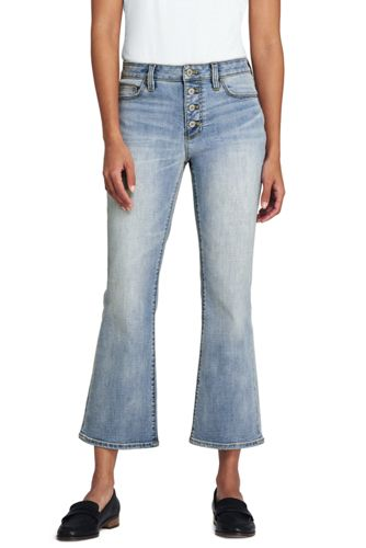 Women's Button Fly Front Kick Cropped Jeans