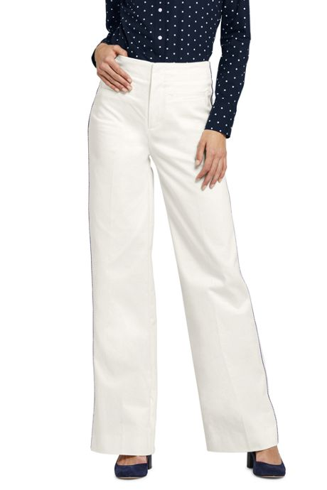 Women's Mid Rise Twill Wide Leg Pants