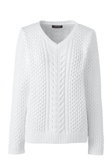 Women's Combed Cotton V-neck Jumper