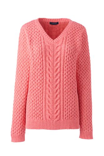 Women's Peach Marl Combed Cotton V-neck Jumper