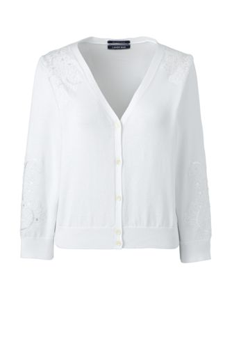 Women's Supima Embroidered Cropped Cardigan
