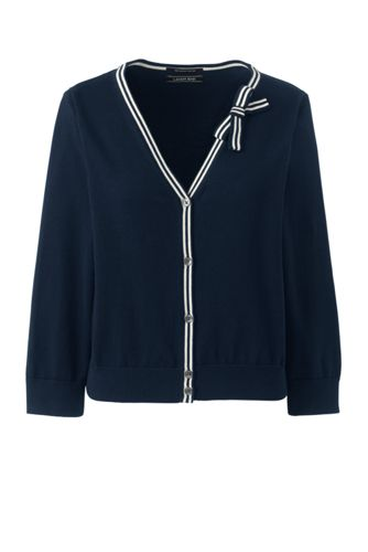 Women's Supima Cropped Cardigan with bow detail