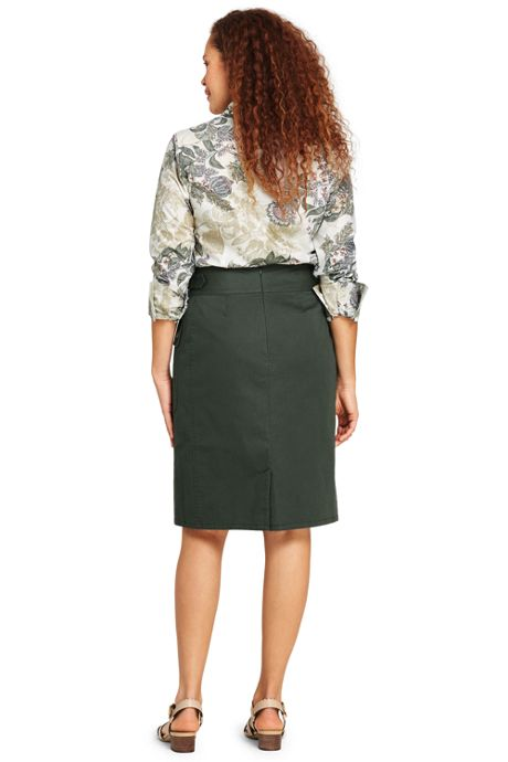 Women's Plus Size Woven Utility Skirt