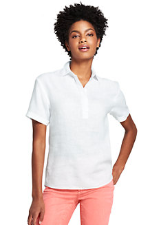 Women's Short Sleeve Linen Popover Shirt