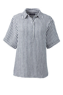 Women's Striped Short Sleeve Linen Shirt