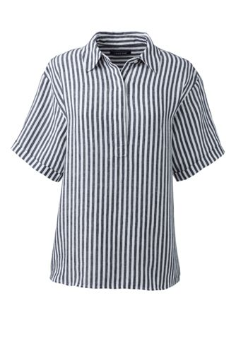 Women's Plus Striped Short Sleeve Linen Shirt