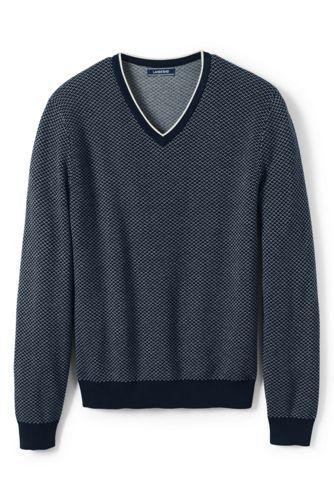 Le Pull en Coton Col V Oeil de Perdrix, Homme Stature Standard