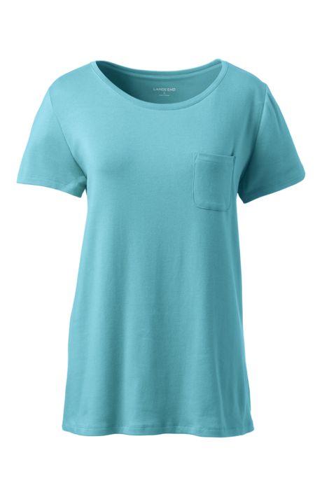 Women's Plus Size Short Sleeve Lace Back Overlay Pocket T-shirt