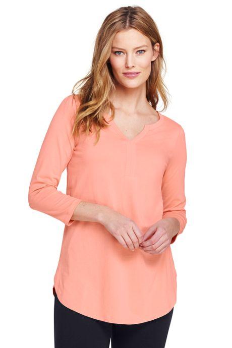 Women's 3/4 Sleeve Split Neck Tunic Top