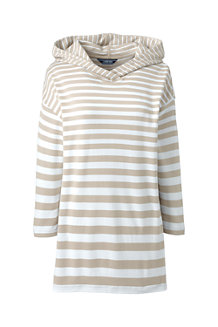 Le Hoodie Rayé Stretch Manches 3/4, Femme