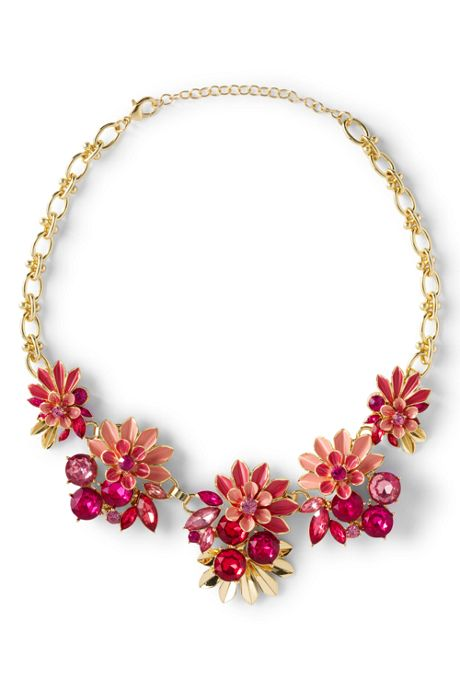 Women's Jeweled Floral Statement Necklace