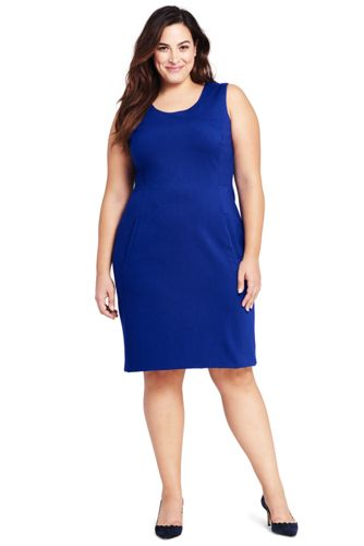 Women's Plus Sleeveless Scoop Neck Ponté Sheath Dress