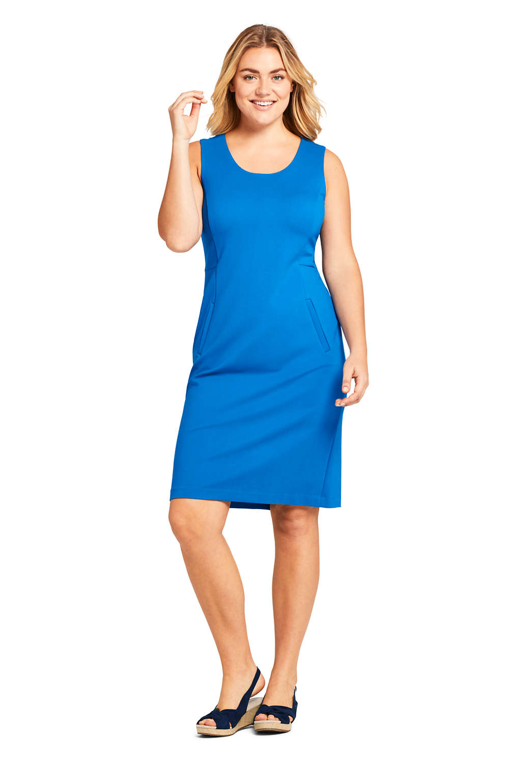 b2aca9d9 Women S Plus Size Sleeveless Scoopneck Ponte Sheath Dress From Lands