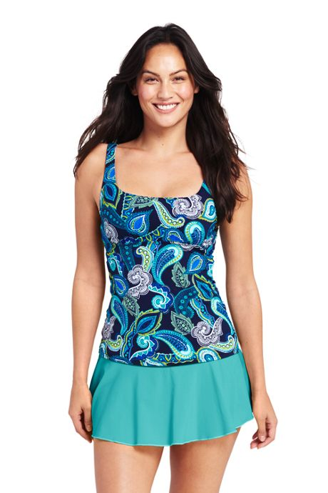 Women's Long Underwire Squareneck Tankini Top
