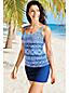 Women's Beach Living Long SquareneckTile Print Tankini Top