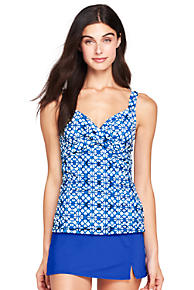 Free Shipping Outlet Locations Clearance Fashion Style Womens Shape & Enhance Wrap Front Medallion Print Tankini Top - 10 - BLACK Lands End Hot Sale Sale Online Ost Release Dates RCqHeSWB