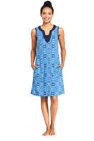 Women's Cotton Jersey Sleeveless Tunic Dress Swim Cover-up Print