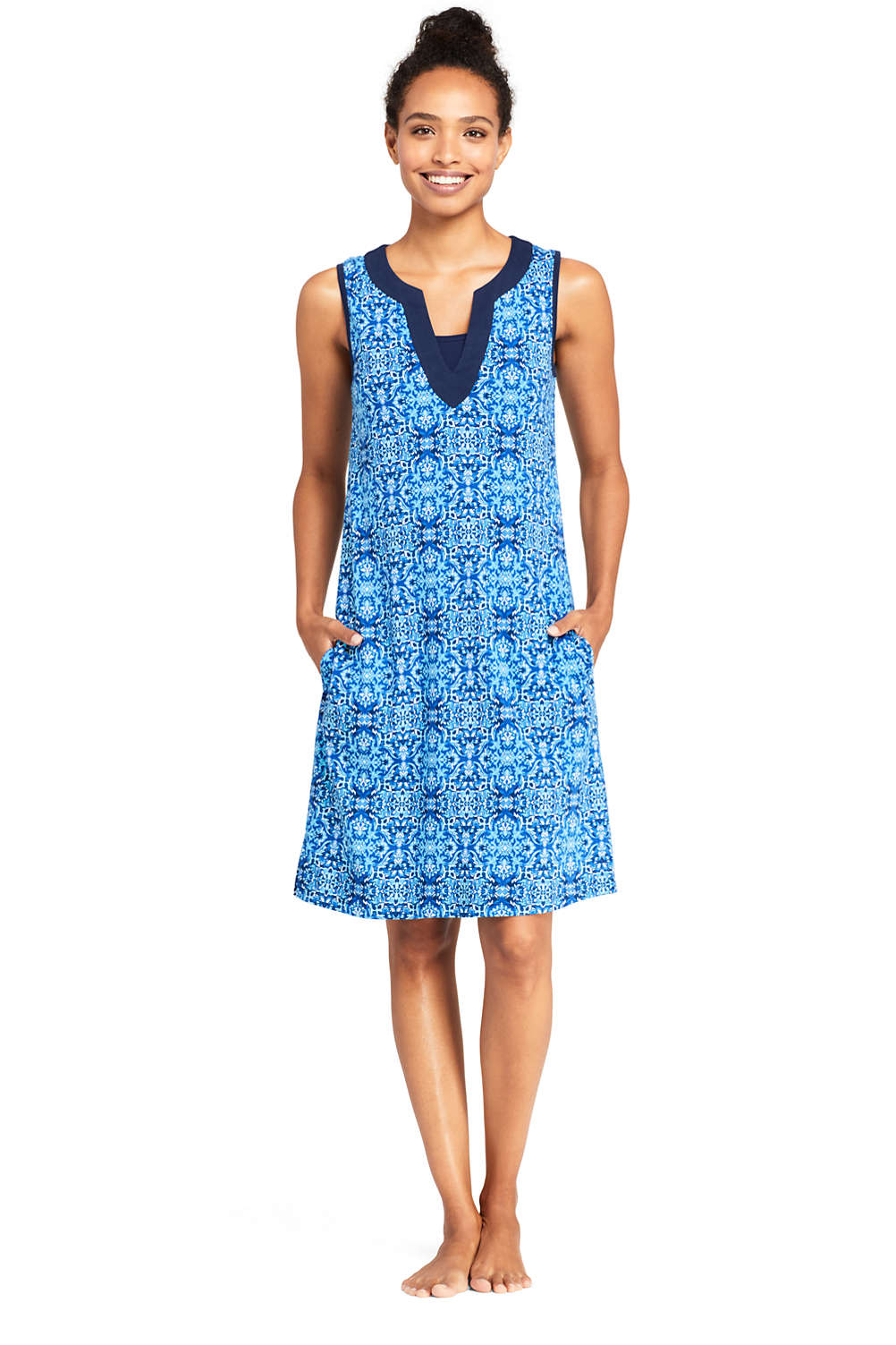 abb0ca62158df Women s Cotton Jersey Sleeveless Tunic Dress Swim Cover-up Print from  Lands  End
