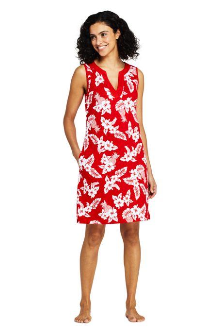 Women's Long Cotton Jersey Sleeveless Tunic Dress Swim Cover-up Print