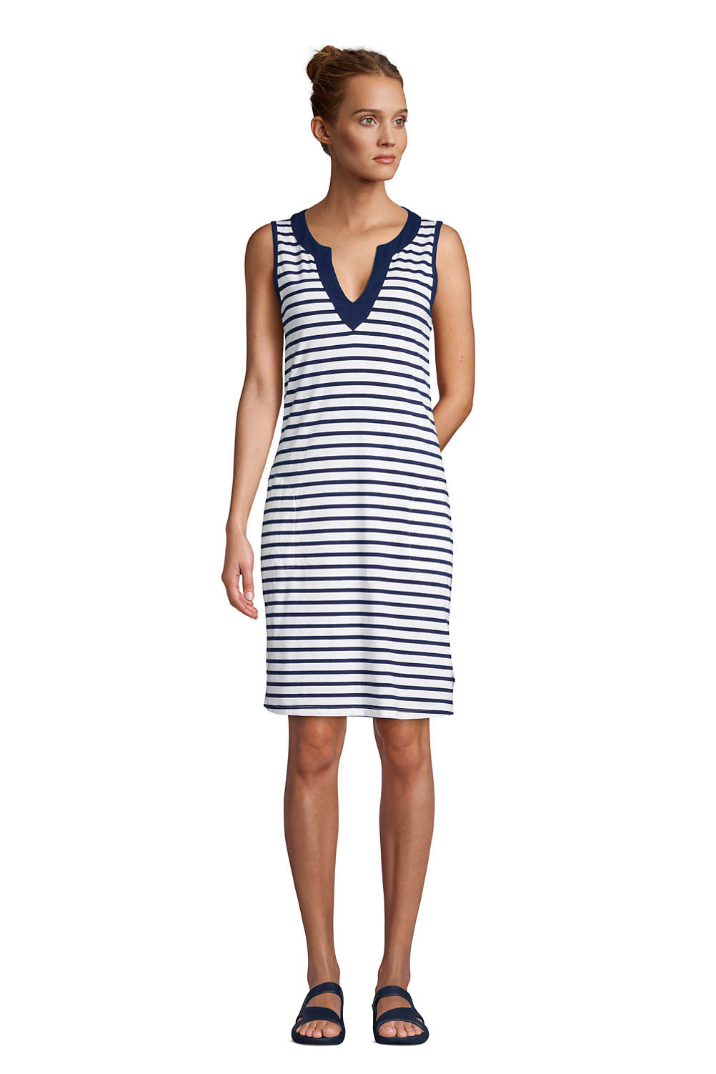 e29b0218cb Women's Cotton Jersey Sleeveless Swim Cover-up Dress Print from Lands' End