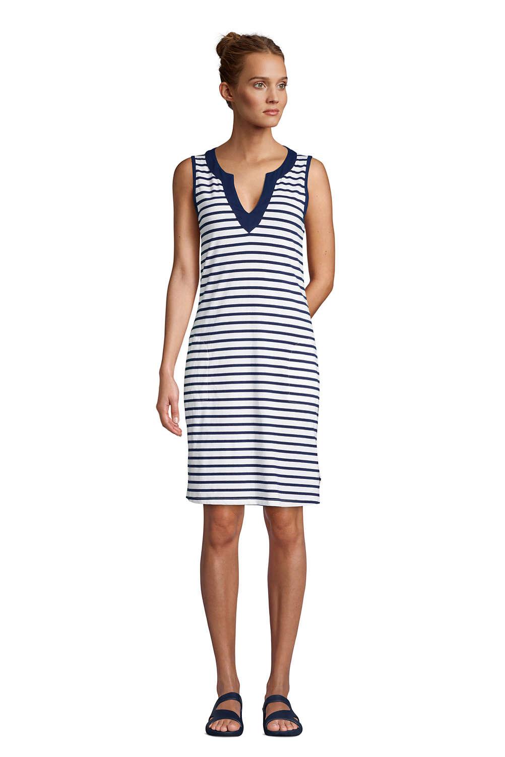 b73c042a05 Women's Cotton Jersey Sleeveless Swim Cover-up Dress Print from Lands' End