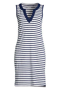 Women's Long Cotton Jersey Sleeveless Swim Cover-up Dress Print, Front