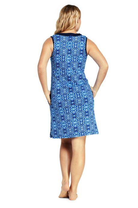 Women's Plus Size Cotton Jersey Sleeveless Tunic Dress Swim Cover-up Print