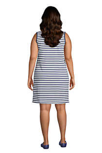 Women's Plus Size Cotton Jersey Sleeveless Swim Cover-up Dress Print, Back