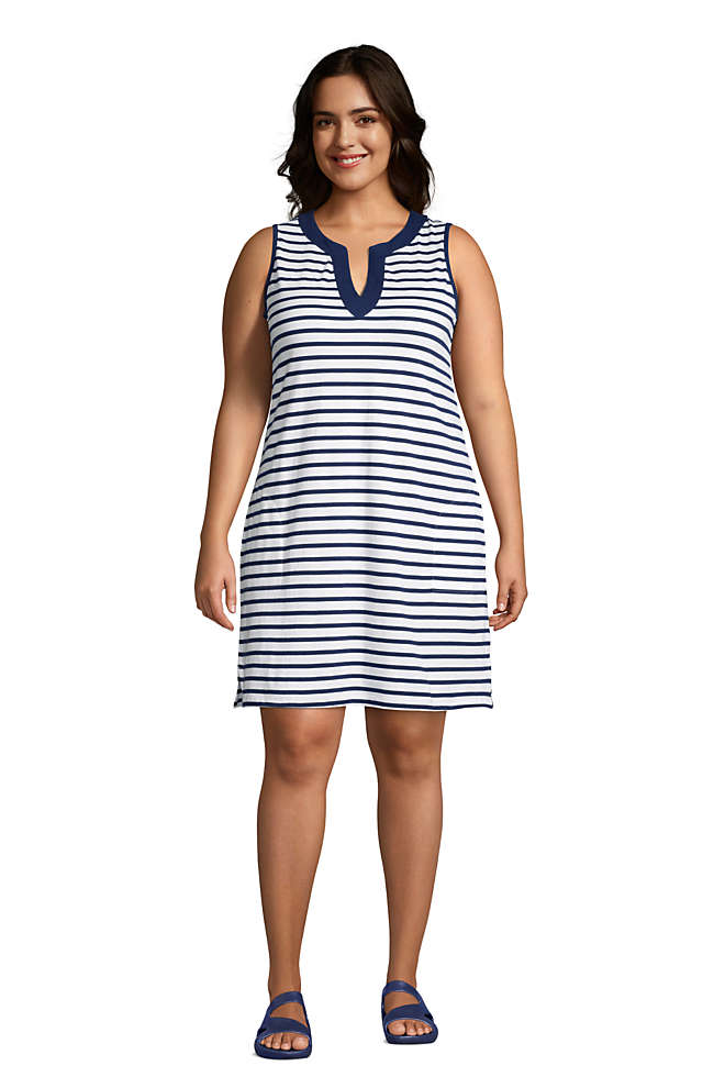 Women's Plus Size Cotton Jersey Sleeveless Swim Cover-up Dress Print, Front